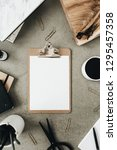 flat lay of clipboard with copy ... | Shutterstock . vector #1295457358