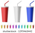 fast food cup with straw   Shutterstock .eps vector #1295463442