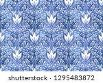 vintage indigo dyed textile... | Shutterstock .eps vector #1295483872