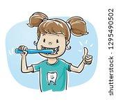 cute cartoon child girl... | Shutterstock .eps vector #1295490502