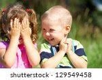 two funny kids are playing ... | Shutterstock . vector #129549458