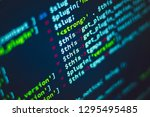 colorful lines of code... | Shutterstock . vector #1295495485