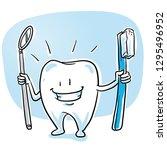 cute happy cartoon tooth... | Shutterstock .eps vector #1295496952