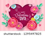 valentine's day greeting card... | Shutterstock .eps vector #1295497825