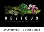 obvious slogan with tropical... | Shutterstock .eps vector #1295534815