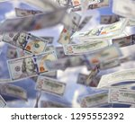 raining money from the sky ... | Shutterstock . vector #1295552392