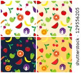 four pattern with fruits and... | Shutterstock .eps vector #129556205