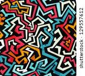 graffiti curves seamless... | Shutterstock .eps vector #129557612
