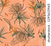 sweet mood summer exotic flower ... | Shutterstock .eps vector #1295615965