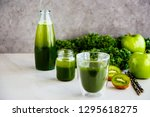 delicious morning green detox... | Shutterstock . vector #1295618275