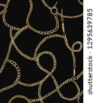gold chains on a black... | Shutterstock .eps vector #1295639785