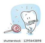 cute healthy cartoon tooth... | Shutterstock .eps vector #1295643898