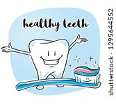 cute happy cartoon tooth with... | Shutterstock .eps vector #1295644552