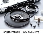 disassembled audio cassette... | Shutterstock . vector #1295682295