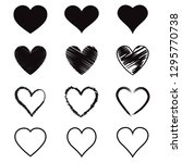 heart hand drawn icons set.... | Shutterstock .eps vector #1295770738
