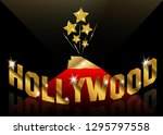 hollywood sign text. movie... | Shutterstock .eps vector #1295797558