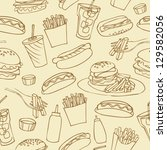 fast food seamless background | Shutterstock .eps vector #129582056