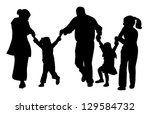 family with tree children... | Shutterstock .eps vector #129584732