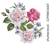 watercolor greeting card ... | Shutterstock . vector #1295861665