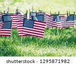 american flags on the grass in... | Shutterstock . vector #1295871982