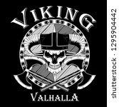 viking skull in a helmet with... | Shutterstock .eps vector #1295904442