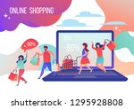 people make purchases in the... | Shutterstock .eps vector #1295928808