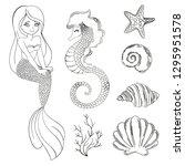 mermaid monochrome cartoon...   Shutterstock .eps vector #1295951578