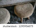 natural straw round pouf... | Shutterstock . vector #1295956075