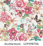 seamless hand draw flowers with ... | Shutterstock .eps vector #129598706