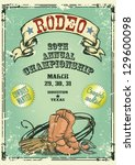 Retro style Rodeo Championship poster with cowboy stuff, ribbon banner and sample text on it. Text and grunge effect are removable - stock vector