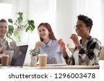 happy joyful diverse business... | Shutterstock . vector #1296003478