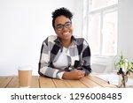happy smiling african teen girl ... | Shutterstock . vector #1296008485