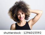 young black woman with afro...   Shutterstock . vector #1296015592