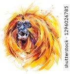 golden lion tamarin. tropical... | Shutterstock . vector #1296026785