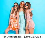 three young beautiful smiling... | Shutterstock . vector #1296037315