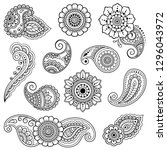 set of mehndi flower pattern... | Shutterstock .eps vector #1296043972