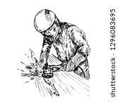 man in protective helmet and... | Shutterstock .eps vector #1296083695