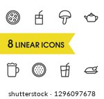 meal icons set with beer ...