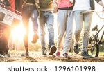 friends walking in city park... | Shutterstock . vector #1296101998