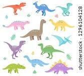 cute dinosaurs set. funny... | Shutterstock .eps vector #1296104128