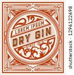 vintage gin label. vector... | Shutterstock .eps vector #1296122698