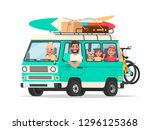 happy family traveling in a... | Shutterstock .eps vector #1296125368