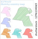 kuwait sketchy country.... | Shutterstock .eps vector #1296134065