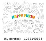 purim clipart with carnival... | Shutterstock .eps vector #1296140935