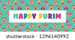 happy purim banner with funny... | Shutterstock .eps vector #1296140992