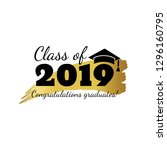 class of 2019. hand drawn brush ... | Shutterstock .eps vector #1296160795