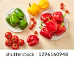 raw whole tomato and pepper... | Shutterstock . vector #1296160948