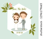 cute bride and groom for... | Shutterstock .eps vector #1296179665