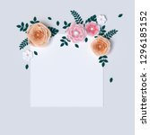 paper flowers and leaves... | Shutterstock . vector #1296185152