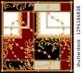baroque patch with golden...   Shutterstock .eps vector #1296186838